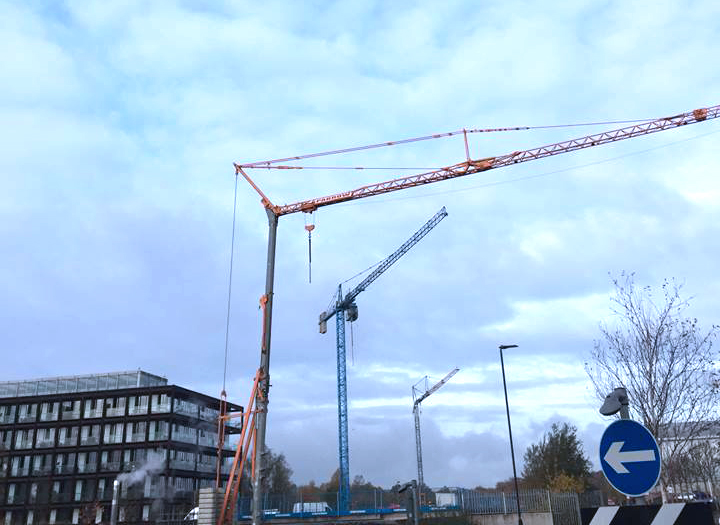 3-Sparrow Crane Hire Tower Cranes working on old Imperial Tobacco factory-Bristol