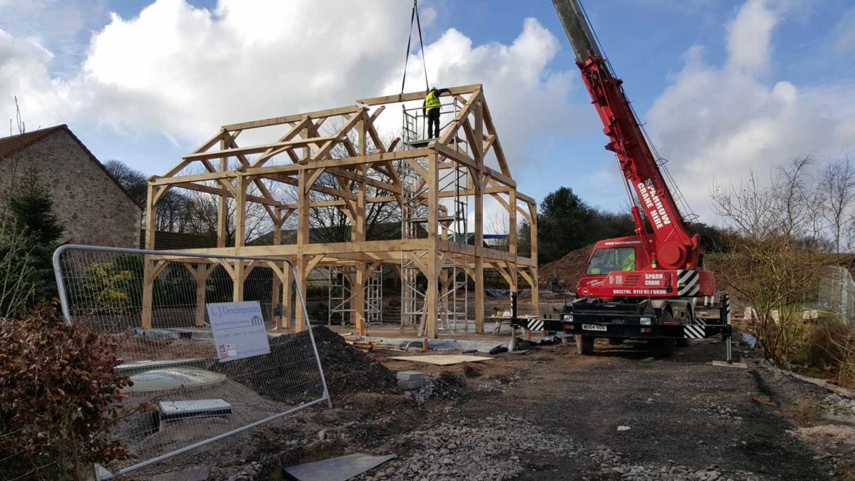 Turnkey Oak Frame Home Under Construction with Sparrow Crane Hire