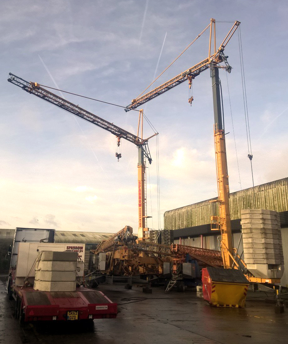 Two x 32tt Self Erecting Tower Cranes on PDI (pre-delivery inspection)