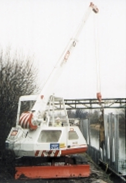 mini crane riverbank Devon