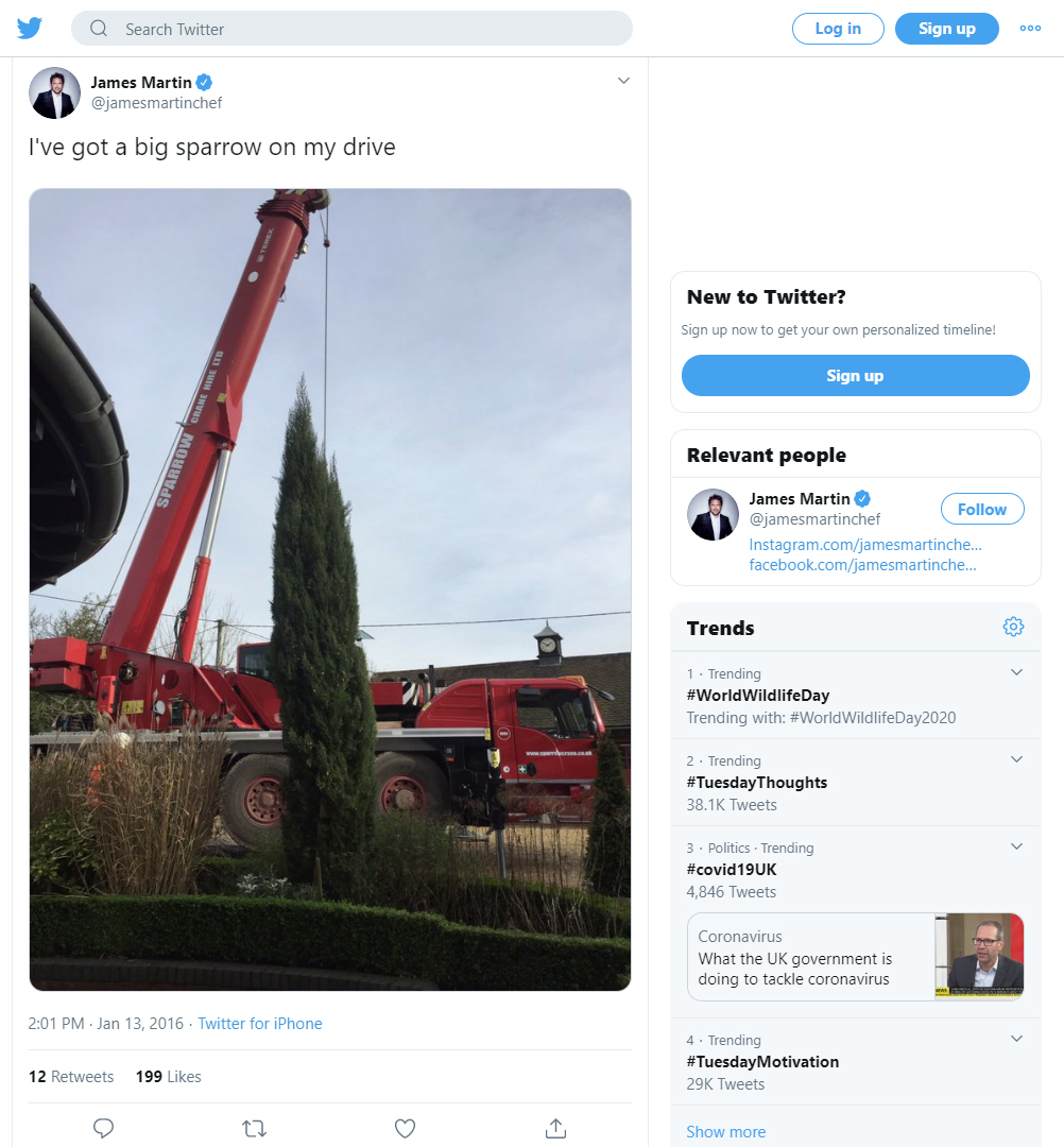 Chef James Martin tweets the arrival of Sparrow Crane on his drive