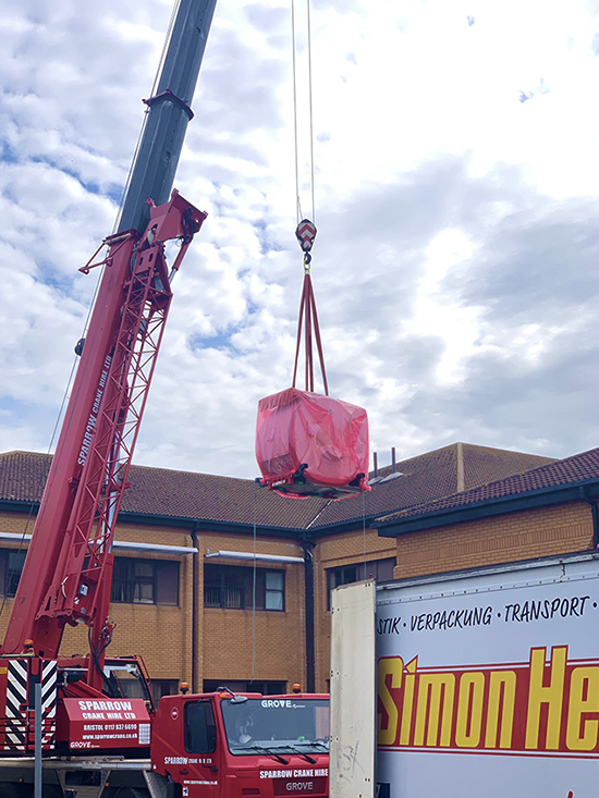 Crane lift of MRI scanner