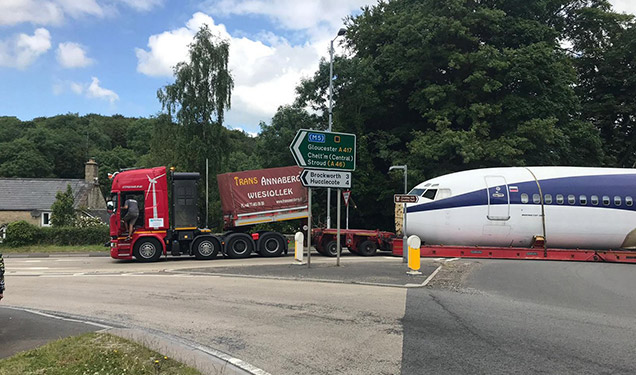 Boeing transported through Gloucester