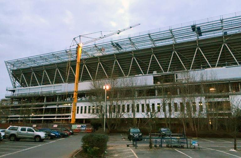 Ashton Gate stadium at dusk