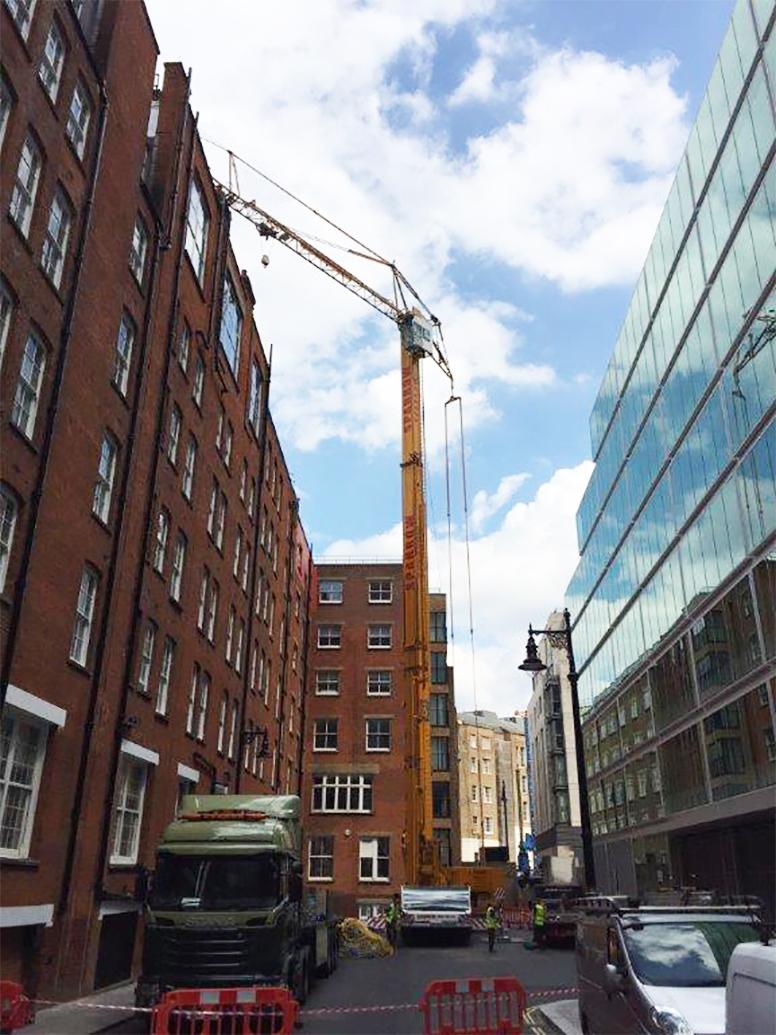 Roofing self erecting crane