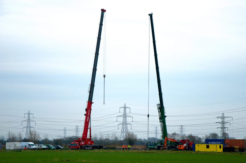 CleanEarth wind turbine crane lift Magor South Wales
