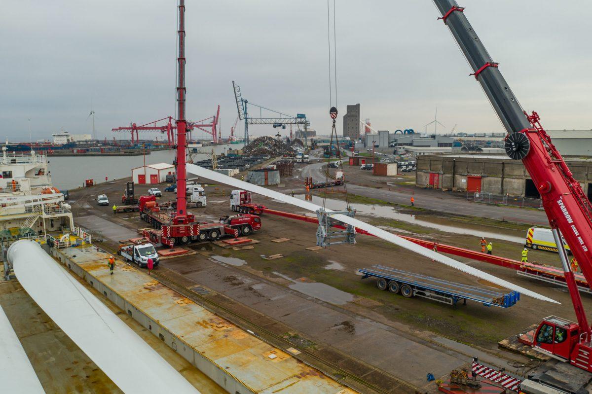 Crane lift Avonmouth docks Bristol